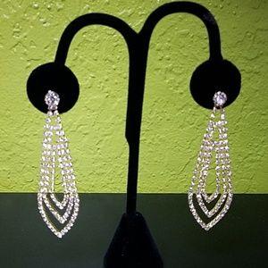Jewelry - 3 for $15 Shiny Rhinestone Earrings NWOT
